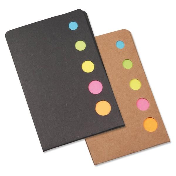 Haftnotiz-Set Sticky mit 5 neonfarbenen Haftnotiz- Blöckchen Braun