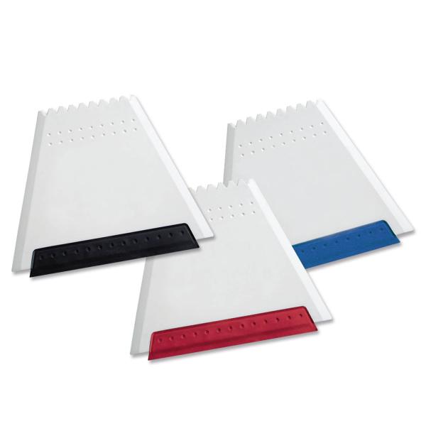"""Eiskratzer Trapez """"White-Colour"""" mit farbiger Gummilippe  Weiß/Rot"""