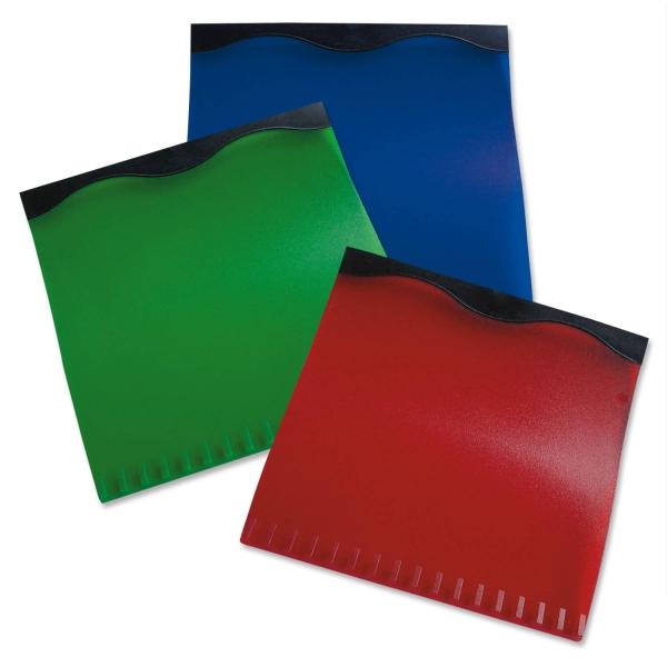 """Eiskratzer """"Color-Wave"""" mit  Gummilippe schwarz Korpus farbig Blau/Schwarz"""