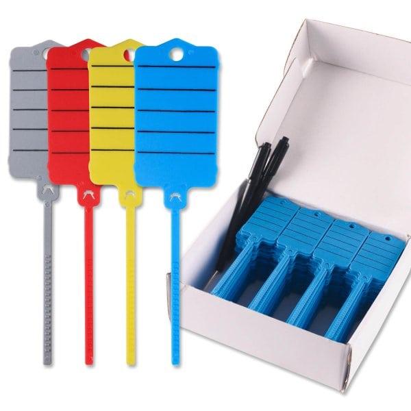 Schlüsselanhänger Uni-Fix: 200 Stück mit Schnellverschluss  Blau
