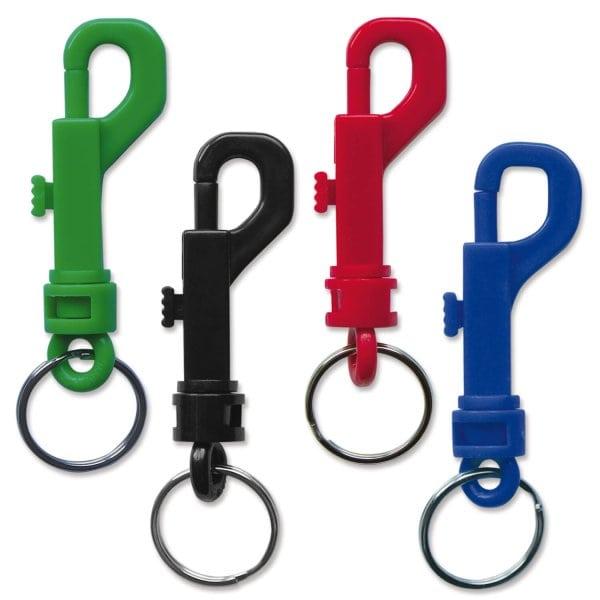 Karabinerhaken mit Schnappverschluß und Schlüsselring  Blau