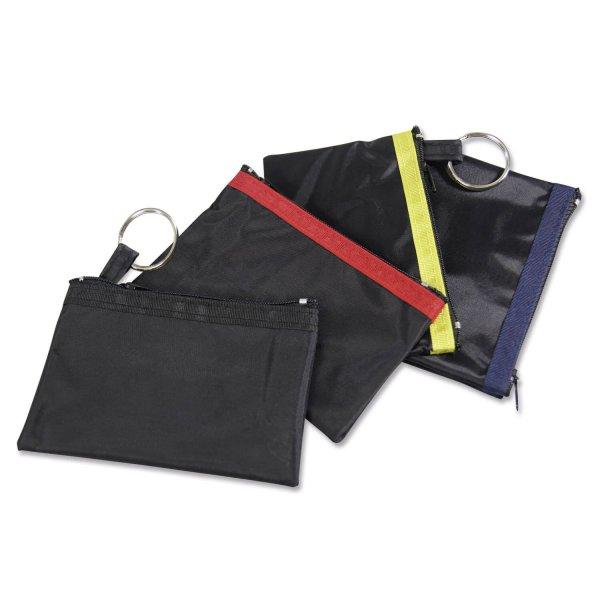 Schlüsseltasche Nylon: strapazierfähig und preiswert mit Farbstreifen Schwarz/Schwarz