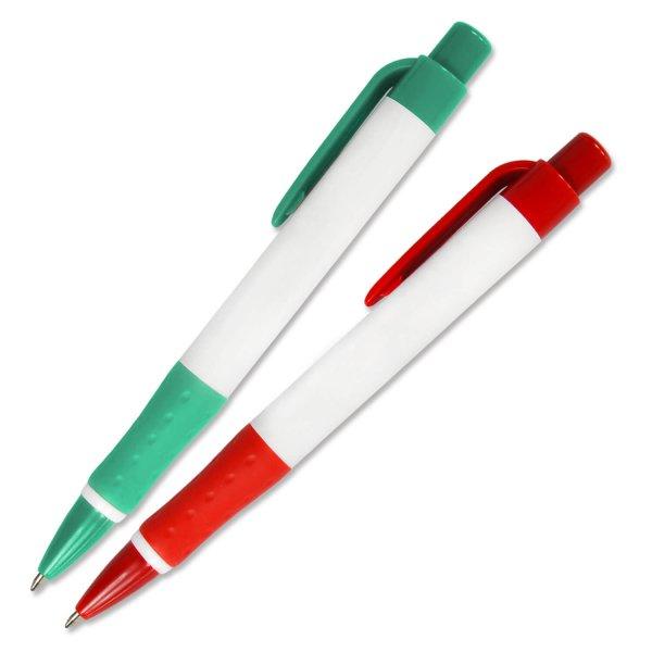 Druckkugelschreiber Maxima mit Softgripp- Gummimanschette Weiß/Blau