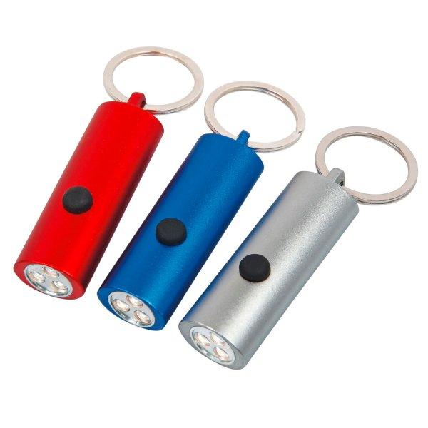 Metall-Taschenlampe mit stabilem Schlüsselring und 3 Stück Power Led-Leuchten Blau
