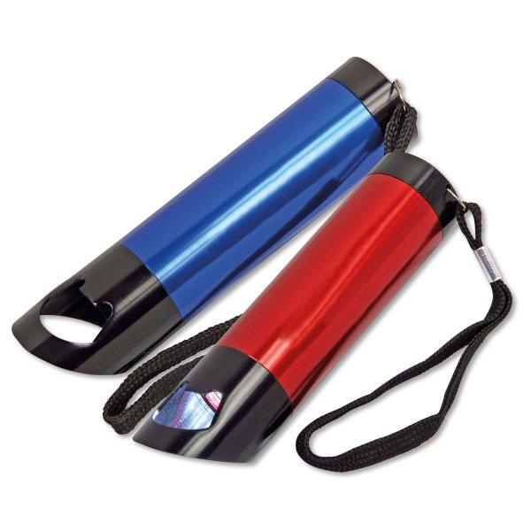 Led-Taschenlampe Sparkle mit Flaschenöffner und Handschlaufe Blau/Schwarz