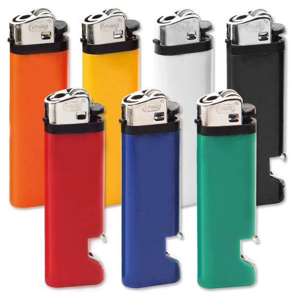 Reibradfeuerzeug mit integriertem Flaschenöffner  Blau/Silber