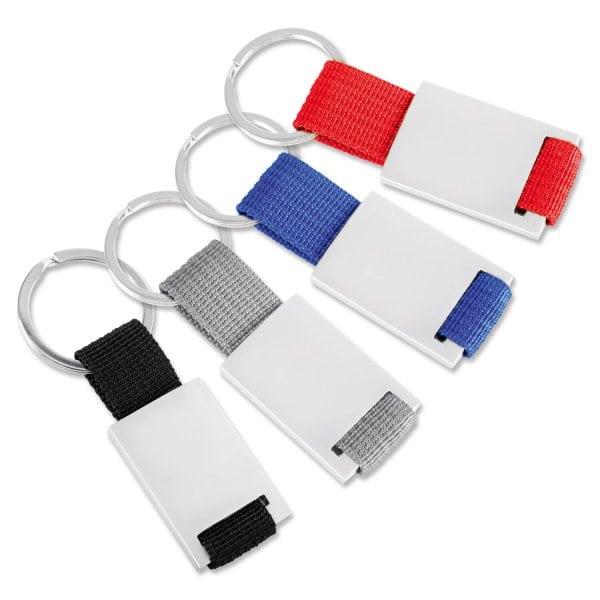 Schlüsselanhänger Boogy mit Nylonband  Silber/Blau