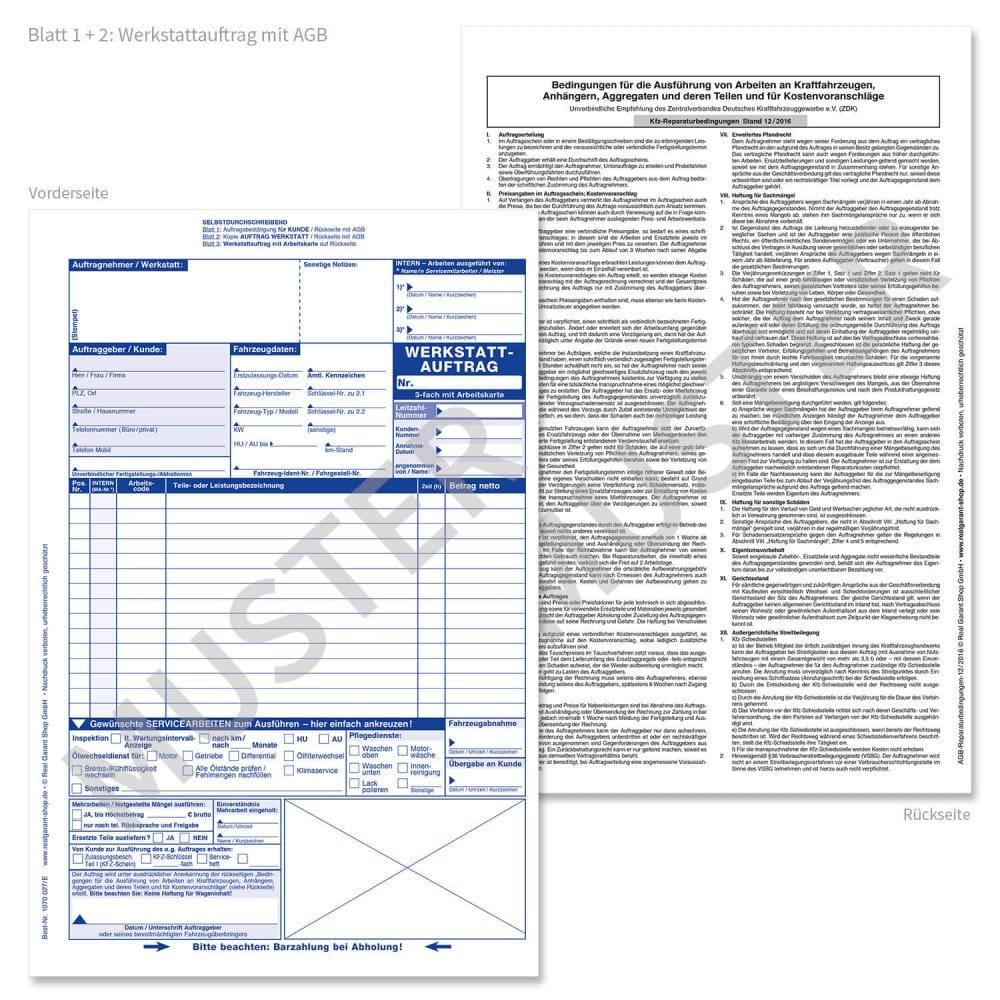 200 Stück DIN A4 Werkstattauftrag KFZ Reparatur Auftragskarten Arbeitskarten