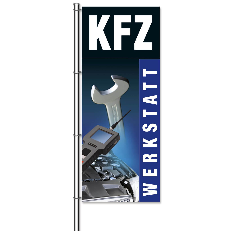 fahne kfz werkstatt mit bildmotiven aus der kfz werkstatt h 300 x b 120cm blau. Black Bedroom Furniture Sets. Home Design Ideas